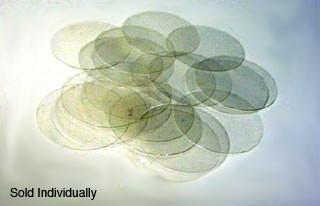 """Quartz Coverslip, 0.984"""" (25 mm) Round Diameter, Thickness #1 (0.15 to 0.18 mm)"""