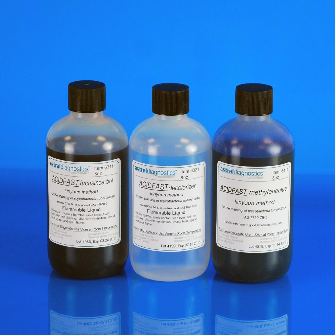 AFB Set, Kinyoun, Methylene Blue Counterstain