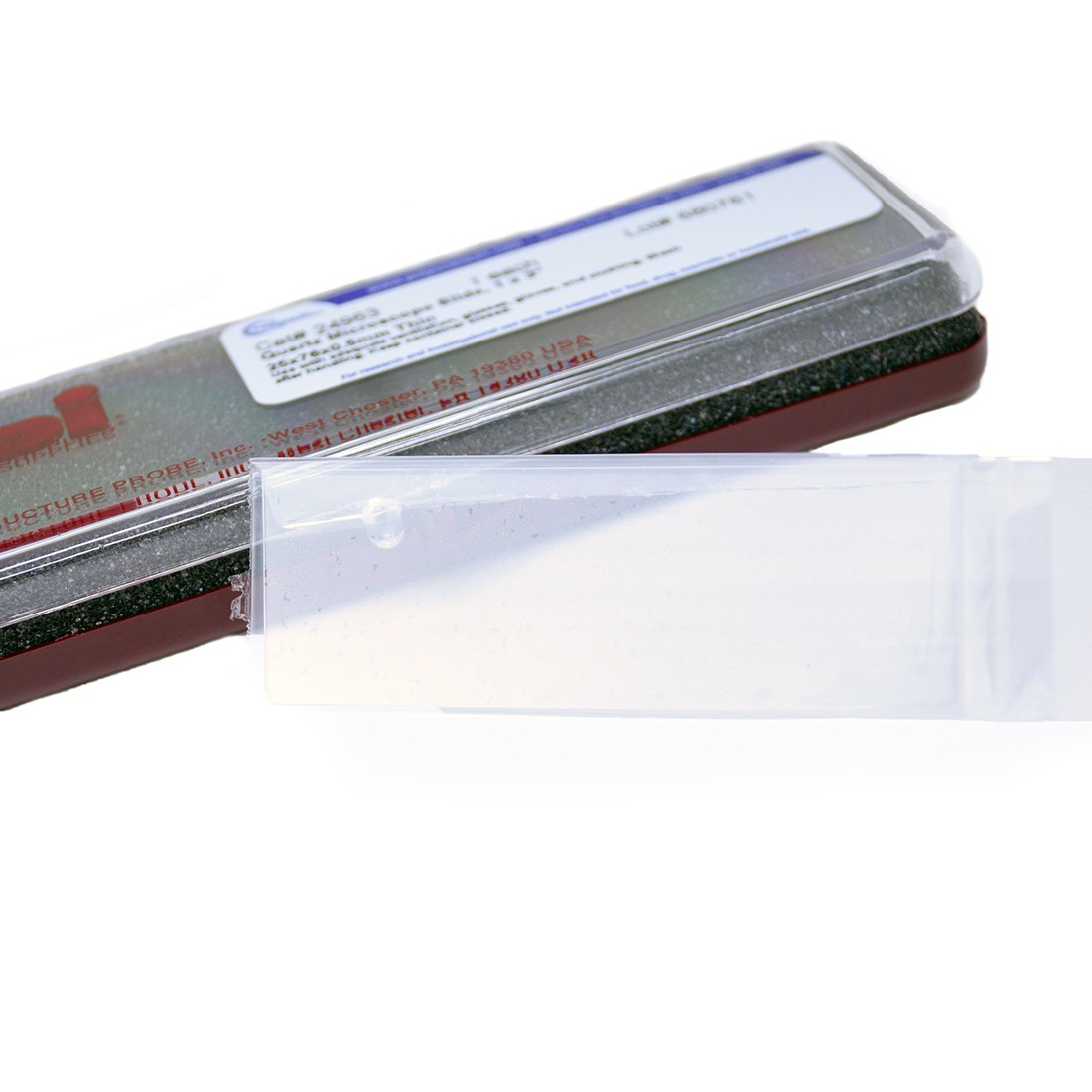 "Quartz Microscope Slide, 1""x3"" (25.4 x 76.2 mm) x 0.5 mm Thin"